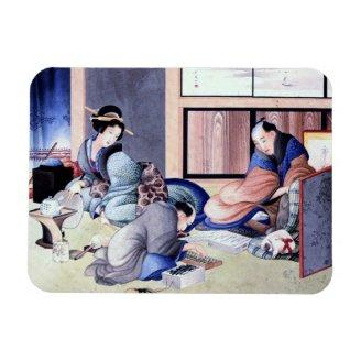 Antique Japanese Merchant and Geisha Watercolor Rectangle Magnets