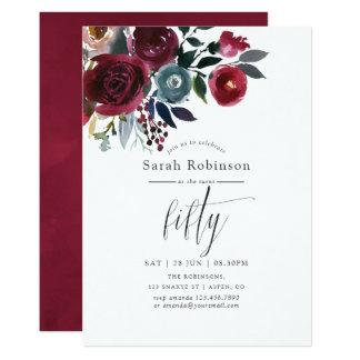 Boho Chic Burgundy and Navy 50th Birthday Party Invitation