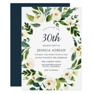 Botanical Floral Wreath 30th Birthday Party Invite