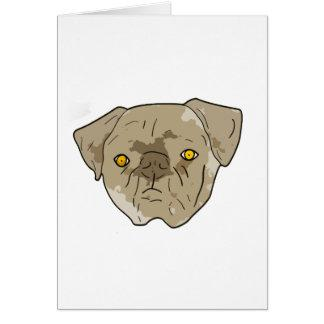 Brown textured pug cutout greeting cards