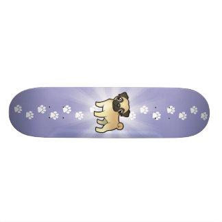 Cartoon Pug Skateboard