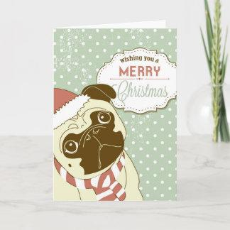 Christmas Pug! Cute little dog in santa hat Holiday Card