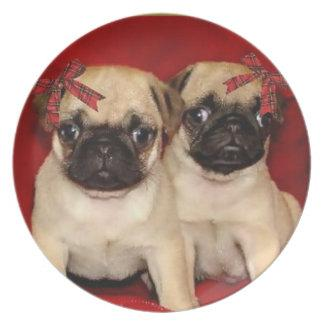 Christmas Pug Puppies decorative plate