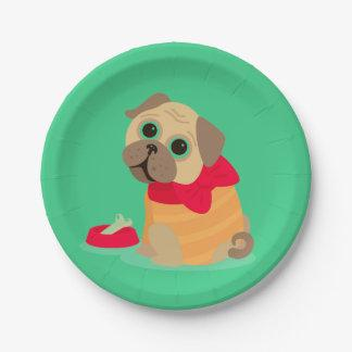 cute pug dog girl's birthday party paper plate