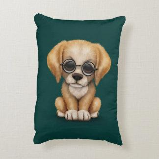 Golden Retriever Puppy with Reading Glasses, teal Accent Pillow