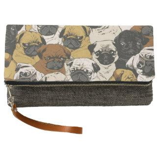 Grumpy Pugs / Funny Cute Pug Dogs Puppies Pattern Clutch
