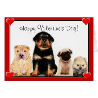 Happy Valentine's Day puppies Greeting Card