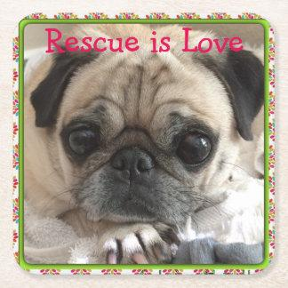 Itsy Pug cardboard drink coaster: Rescue is Love Square Paper Coaster
