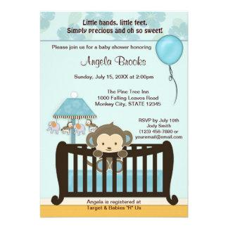 MONKEY Baby Shower Invitation Crib CJ-BLUE boy