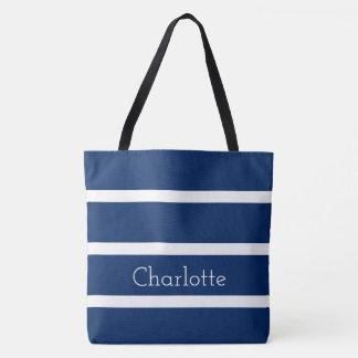 Navy Blue and White Stripes Personalized Tote Bag