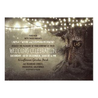 old carved tree twinkle lights rustic wedding 5x7 paper invitation card