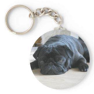 Personalize cute black Pug Puppy accessories name Keychain