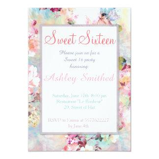 Pink Teal Watercolor Chic Floral Pattern Sweet 16 5x7 Paper Invitation Card