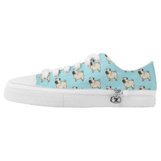Pug Cartoon Dog Photo Pattern Low-Top Sneakers