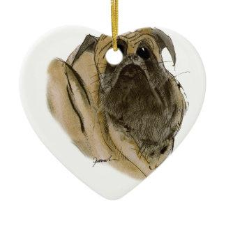 PUG DOG, tony fernandes Double-Sided Heart Ceramic Christmas Ornament