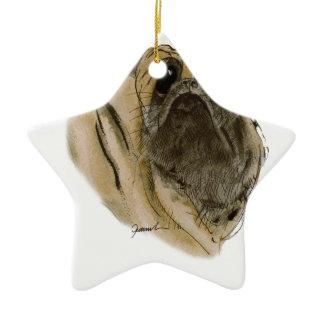 PUG DOG, tony fernandes Double-Sided Star Ceramic Christmas Ornament