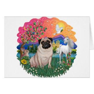 Pug (fawn) greeting card