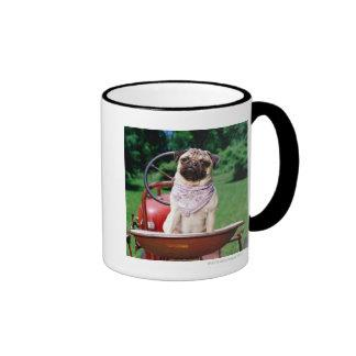 Pug on lawnmower wearing bandana coffee mugs