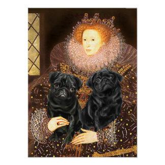 Pug Pair (black) - Queen Poster