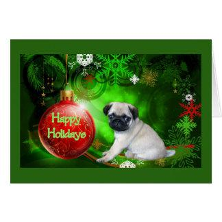 Pug Puppy Christmas Card Red Ball