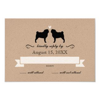 Pug Silhouettes Wedding RSVP Reply 3.5x5 Paper Invitation Card