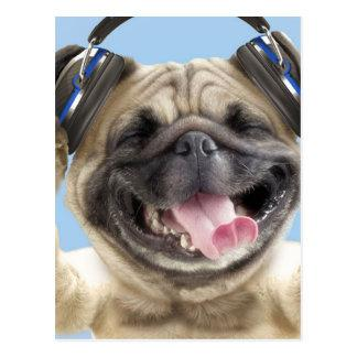 Pug with headphones,pug ,pet postcard