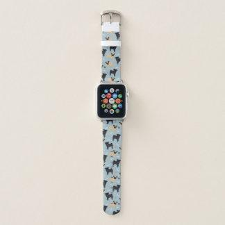 Pugs and Paws Pattern Blue Apple Watch Band