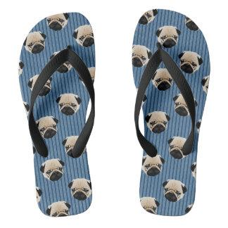 Pugs Blue Stripes.jpg Flip Flops