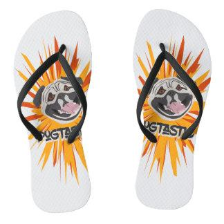 Pugtastic illustration dog smiling happy pug flip flops