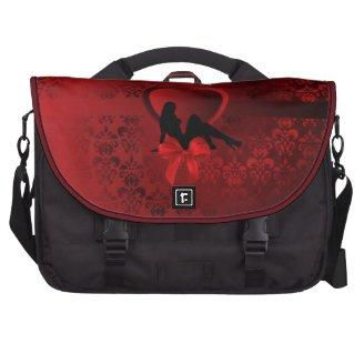 Red damask & valentine heart laptop bags