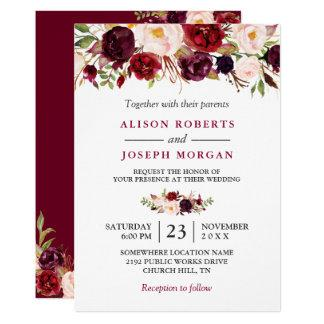 Watercolor Burgundy Red Floral Rustic Boho Wedding Invitation