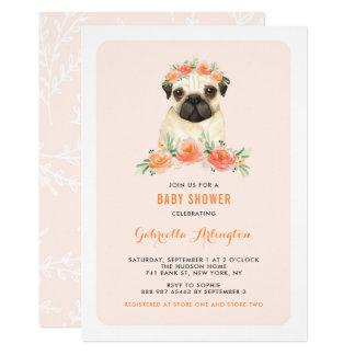 Watercolor Pug Peach Floral Baby Shower Invitation