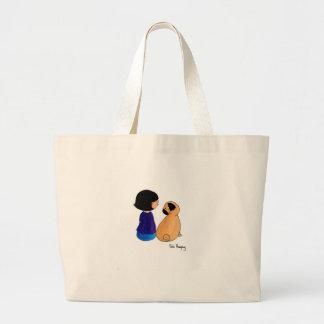 A Girl And Her Pug Large Tote Bag