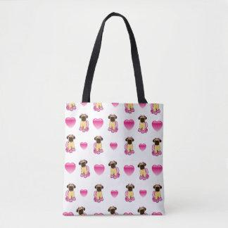 Ballerina Pug and Hearts Tote Bag