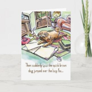 Birthday Card for Dog Lover - Revisionist Pug