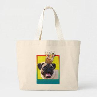 Birthday Cupcake - Pug Large Tote Bag