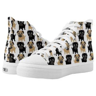Black and Fawn Pugs High-Top Sneakers