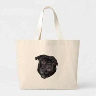 Black Funny Pug Large Tote Bag