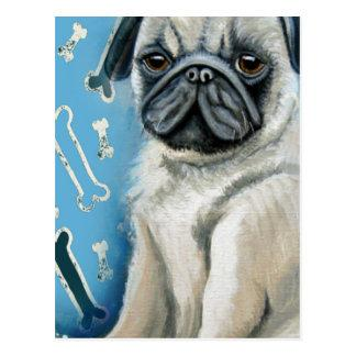 Blue Bone Pug Design Postcard