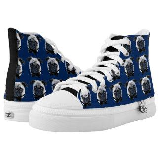 Blue Pug  high top tennis shoes