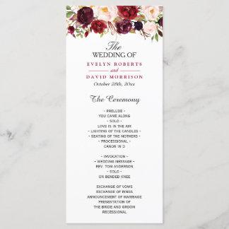 Burgundy Marsala Red Floral Chic Wedding Program