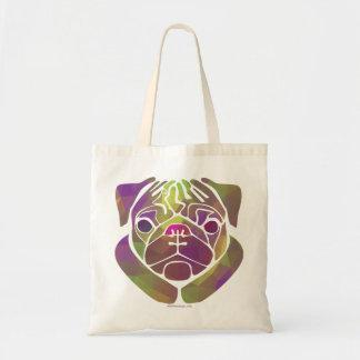 Colorful Abstract Pug Tote Bag
