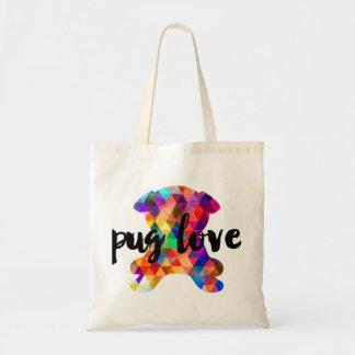 Colorful Triangle Pattern Pug Silhouette Tote Bag