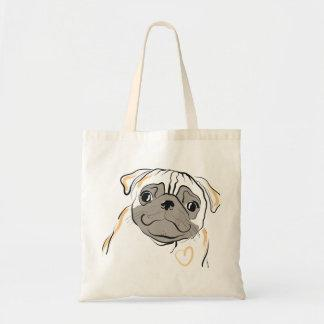 Curious Pug with Heart Tote Bag
