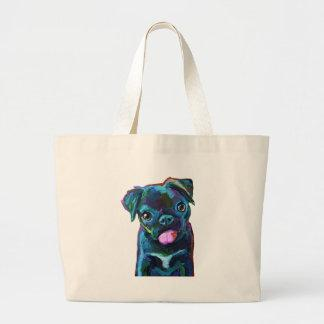 Cute Black Pug Puppy Large Tote Bag