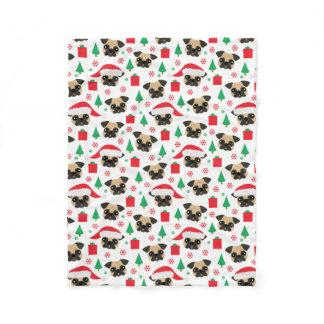 Cute Christmas Pug Fleece Blanket