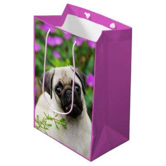 Cute Fawn Colored Pug Puppy Dog Portrait Photo Medium Gift Bag