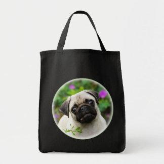Cute fawn pug puppy funny photo - shopper tote bag