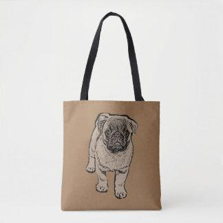 Cute Pug All-Over-Print Tote Bag - Brown