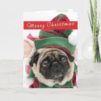 Cute Pug Christmas card